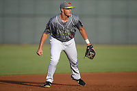 Third baseman Brian Sharp (7) of the Columbia Fireflies, playing as the Chicharrones de Columbia, plays defense in a game against the Charleston RiverDogs on Friday, July 12, 2019 at Segra Park in Columbia, South Carolina. The RiverDogs won, 4-3, in 10 innings. (Tom Priddy/Four Seam Images)
