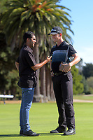 NZ Golf's Jason Gulasekharam interviews 2020 Super 6s champion Daniel Hillier. Final day of the Jennian Homes Charles Tour / Brian Green Property Group New Zealand Super 6s at Manawatu Golf Club in Palmerston North, New Zealand on Sunday, 8 March 2020. Photo: Dave Lintott / lintottphoto.co.nz