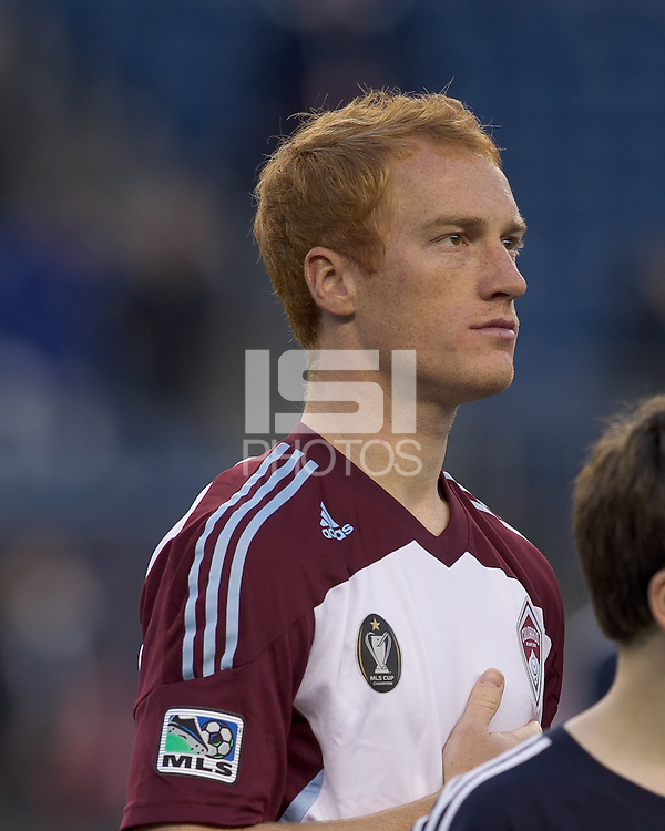 Colorado Rapids midfielder Jeff Larentowicz (4). In a Major League Soccer (MLS) match, the New England Revolution tied the Colorado Rapids, 0-0, at Gillette Stadium on May 7, 2011.