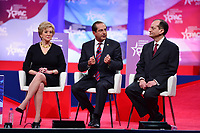 National Harbor, MD - February 28, 2019: U.S. Small Business Administrator Linda McMahon, U.S Health and Human Services Secretary Alex Azar and Labor secretary Alex Acosta participate in a discussion during the annual Conservative Political Action Conference (CPAC) held at the Gaylord National Resort at National Harbor, MD February 28, 2019.  (Photo by Don Baxter/Media Images International)