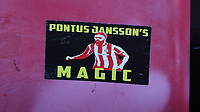 A Pontus Jansson sticker on the back of one of the seats in the Stand during Brentford vs Middlesbrough, Sky Bet EFL Championship Football at Griffin Park on 8th February 2020