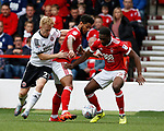 Mark Duffy of Sheffield Utd tries to get through to Tendayi Darikwa of Nottingham Forest during the Championship match at the City Ground Stadium, Nottingham. Picture date 30th September 2017. Picture credit should read: Simon Bellis/Sportimage