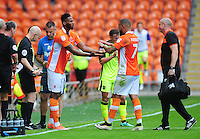 Blackpool's Jamille Matt comes on to replace the injured Kyle Vassell<br /> <br /> Photographer Kevin Barnes/CameraSport<br /> <br /> Football - The EFL Sky Bet League Two - Blackpool v Exeter City - Saturday 6th August 2016 - Bloomfield Road - Blackpool<br /> <br /> World Copyright &copy; 2016 CameraSport. All rights reserved. 43 Linden Ave. Countesthorpe. Leicester. England. LE8 5PG - Tel: +44 (0) 116 277 4147 - admin@camerasport.com - www.camerasport.com