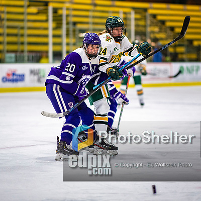 2 February 2020: Holy CrossCrusader Defender Victoria Young, a Senior from Hanson, MA, in second period action against the University of Vermont Catamounts at Gutterson Fieldhouse in Burlington, Vermont. The Lady Cats rallied in the 3rd period to tie the Crusaders 2-2 in NCAA Women's Hockey East play. Mandatory Credit: Ed Wolfstein Photo *** RAW (NEF) Image File Available ***