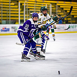 2 February 2020: Holy Cross Crusader Defender Victoria Young, a Senior from Hanson, MA, in second period action against the University of Vermont Catamounts at Gutterson Fieldhouse in Burlington, Vermont. The Lady Cats rallied in the 3rd period to tie the Crusaders 2-2 in NCAA Women's Hockey East play. Mandatory Credit: Ed Wolfstein Photo *** RAW (NEF) Image File Available ***