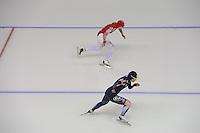 SCHAATSEN: CALGARY: Olympic Oval, 09-11-2013, Essent ISU World Cup, 500m, Olga Fatkulina (RUS), Sang-Hwa Lee (KOR), ©foto Martin de Jong