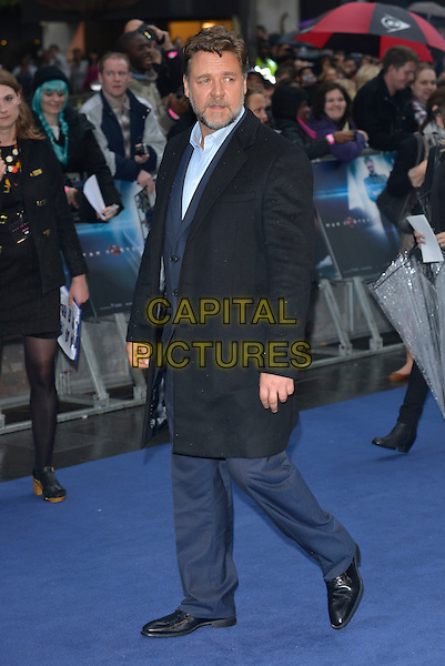 Russell Crowe<br /> 'Man Of Steel' UK film premiere, Empire cinema, Leicester Square, London, England. <br /> 12th June 2013<br /> full length coat side black blue shirt beard facial hair<br /> CAP/PL<br /> &copy;Phil Loftus/Capital Pictures