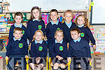 Aodhan Foley, Mia Rose Giles, Eve Giles, Brendan Flynn. Back row: Clodagh Lenihan, Eve Kelliher, Adam Loughnane, Anna Tyzsko, Mary Kate Connoly-Flynn on their first day at school St Josephs NS Castlemaine on Wednesday