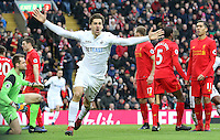 Fernando Llorente of Swansea City celebrates scoring his sides first goal of the match during the Premier League match between Liverpool and Swansea City at Anfield, Liverpool, Merseyside, England, UK. Saturday 21 January 2017