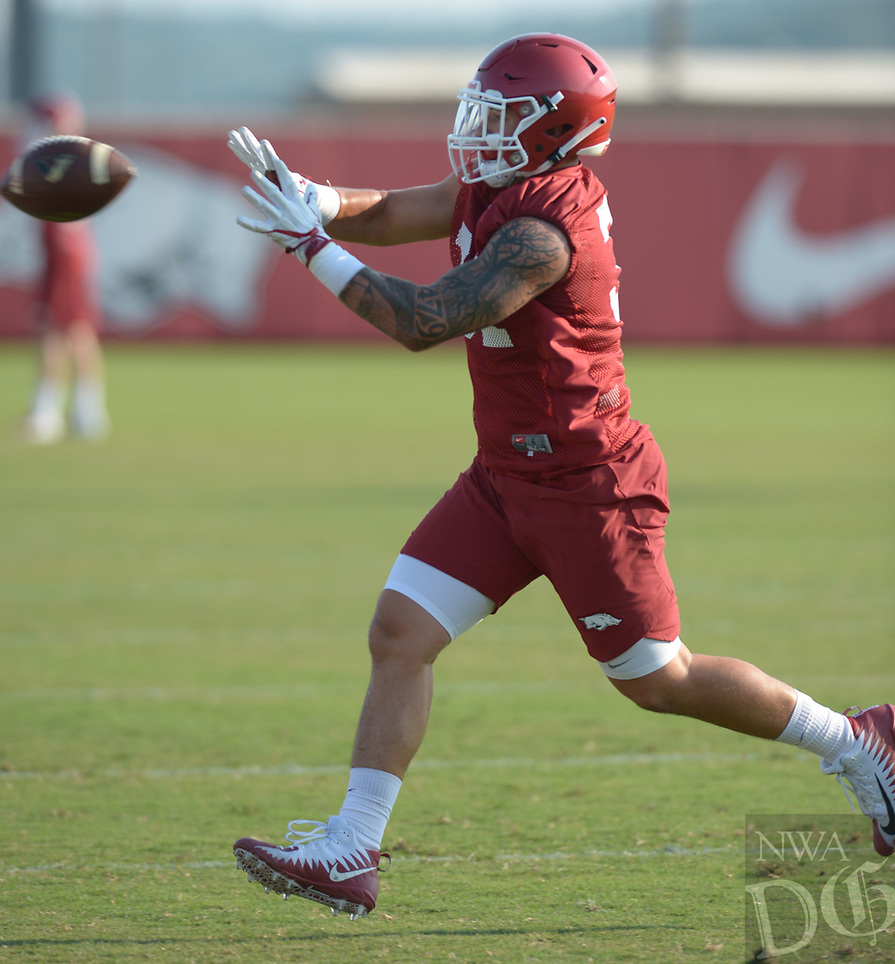 NWA Democrat-Gazette/ANDY SHUPE<br /> Arkansas linebacker Grant Morgan participates in a drill Friday, Aug. 3, 2018, during practice at the university practice field on campus in Fayetteville. Visit nwadg.com/photos to see more photographs from the practice.