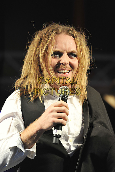 Tim Minchin.Performing live on Day 3 at the Reading Festival, Reading, England..August 28th, 2011.stage concert live gig performance half length black suit jacket white shirt stubble facial hair  waistcoat  .CAP/MAR.© Martin Harris/Capital Pictures.