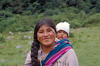Portrait of a young Bolivian woman with  b