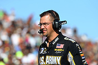 Jul. 26, 2013; Sonoma, CA, USA: NHRA crew member for top fuel dragster driver Tony Schumacher during qualifying for the Sonoma Nationals at Sonoma Raceway. Mandatory Credit: Mark J. Rebilas-