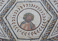 Detail of Mosaic, House of the Planetarium, Italica, Seville, Spain, pictured on December 28, 2006, in the afternoon. The mosaic shows the seven gods, and this detail depicts Jupiter. Italica was founded by Scipio Africanus in 206 BC as a centre for soldiers wounded in the Battle of Ilipa, a defeat for Carthage during the Punic Wars, and became a military outpost. The name signifies that the original settlers were from an Italian regiment. It was one of the first cities in Roman Hispania and was the birthplace of two Roman Emperors: Trajan (53-117 AD) and Hadrian (76-138 AD). The city declined after the fall of the Roman Empire. Picture by Manuel Cohen.