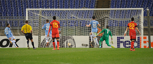 25.02.2016. Stadio Olimpico, Rome, Italy. Uefa Europa League, Return leg of SS Lazio versus Galatasaray. The goal Felipe Anderson of Lazio
