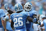 01 September 2012: UNC's Giovanni Bernard (26) celebrates his third touchdown with Romar Morris (21). The University of North Carolina Tar Heels played the Elon University Phoenix at Kenan Memorial Stadium in Chapel Hill, North Carolina in a 2012 NCAA Division I Football game.