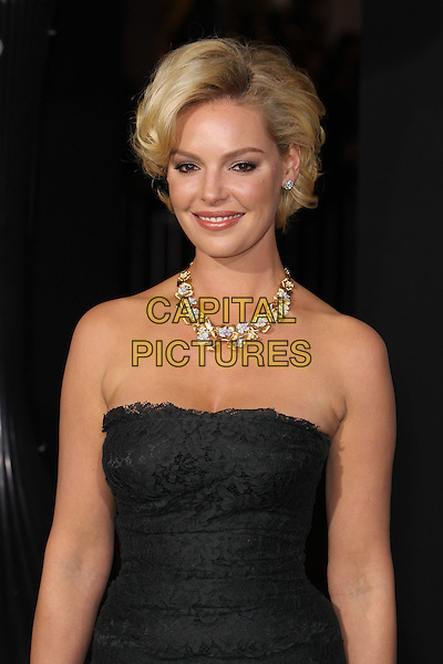"Katherine Heigl.The World Premiere of ""New Year's Eve' held at The Grauman's Chinese Theatre in Hollywood, California, USA..December 5th, 2011.half length dress black strapless lace gold diamond necklace jewellery jewelry .CAP/CEL .©CelPh/Capital Pictures."