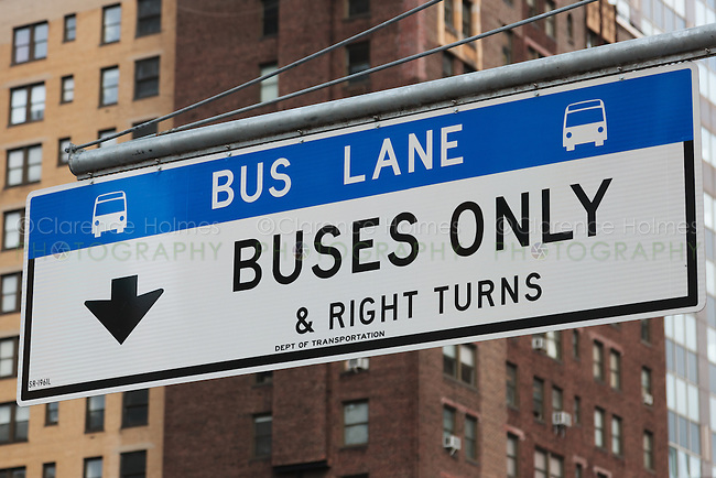 Sign designating the bus lane on 1st Avenue in Manhattan