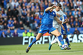 9th September 2017, King Power Stadium, Leicester, England; EPL Premier League Football, Leicester City versus Chelsea; Harry Maguire of Leicester City and Álvaro Morata of Chelsea compete for the ball