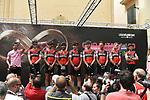 Actor and racing driver Patrick Dempsey guest of BMC Racing Team before the start of Stage 7 of the 100th edition of the Giro d'Italia 2017, running 224km from Castrovillari to Alberobello, Italy. 12th May 2017.<br /> Picture: LaPresse/Fabio Ferrari | Cyclefile<br /> <br /> <br /> All photos usage must carry mandatory copyright credit (&copy; Cyclefile | LaPresse/Fabio Ferrari)