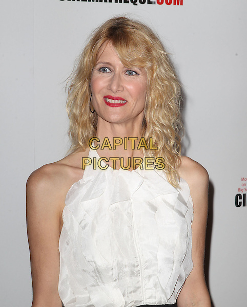 Laura Dern.American Cinematheque 26th Annual Award Presentation To Ben Stiller 2012 Held At The Beverly Hilton Hotel, Beverly Hills, California, USA, .15th November 2012.half length halterneck ruffle make-up  white red lipstick .CAP/ADM/KB.©Kevan Brooks/AdMedia/Capital Pictures.