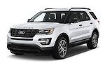 2017 Ford Explorer Sport 5 Door Suv Angular Front stock photos of front three quarter view