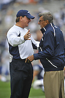 04 September 2010:  Penn State defensive coordinator Tom Bradley and coach Joe Paterno.  The Penn State Nittany Lions defeated the Youngstown State Penguins 44-14 at Beaver Stadium in State College, PA..