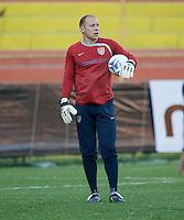 Brad Guzan. Stadium Training prior to FIFA World Cup qualifiers USA vs El Salvador at Estadio Cuscatlán Stadium  on March 27, 2009.