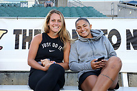 Cary, North Carolina  - Saturday September 09, 2017: Meredith Speck and Debinha prior to a regular season National Women's Soccer League (NWSL) match between the North Carolina Courage and the Houston Dash at Sahlen's Stadium at WakeMed Soccer Park. The Courage won the game 1-0.