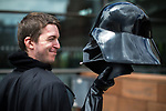 "© Joel Goodman - 07973 332324. 30/07/2017 . Manchester , UK . James "" Mez "" Rice (27 from Irlam) with his Darth Vader helmet . Cosplayers, families and guests at Comic Con at the Manchester Central Convention Centre . Photo credit : Joel Goodman"