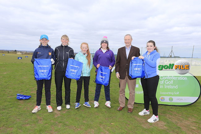 Blainroe Golf Club Girls With Kate Wright CGI and Brendan Byrne Bank of Ireland.<br /> Junior golfers from across Leinster practicing their skills at the regional finals of the Dubai Duty Free Irish Open Skills Challenge supported by Bank of Ireland at the Heritage Golf Club, Killinard, Co Laois. 2/04/2016.<br /> Picture: Golffile | Fran Caffrey<br /> <br /> <br /> All photo usage must carry mandatory copyright credit (&copy; Golffile | Fran Caffrey)