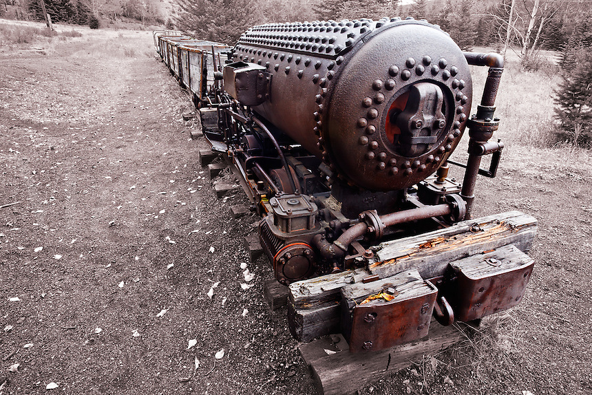 Air powered locomotive, Bankhead, Banff National Park, Canadian Rockies, Alberta, Canada