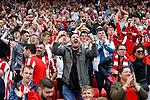 Sunderland fans celebrate victory at full time. Sunderland 2 Portsmouth 1, 17/08/2019. Stadium of Light, League One. Photo by Paul Thompson.