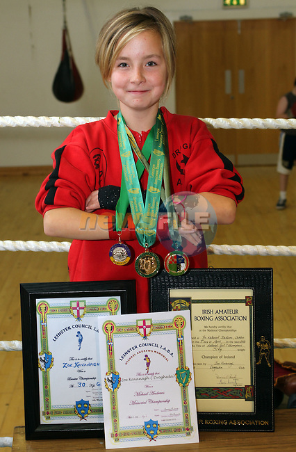 Zoe Kavanagh with her All Ireland and Leinster Medals and certificates at Drogheda Boxing Club...Picture Jenny Matthews/Newsfile.ie