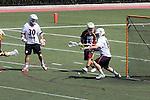Orange, CA 05/02/10 - Matt Sathrum (Chapman # 16) stops a shot on goal as Spencer Halvorsen (Chapman # 30) and Eric Nelson (ASU # 13) look on uring the Chapman-Arizona State MCLA SLC Division I final at Wilson Field on Chapman University's campus.  Arizona State defeated Chapman 13-12 in overtime.