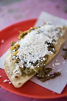 Quesadilla con nopal. Between Milpa Alta and Tlayacapan at the roadside tacos. Mexico
