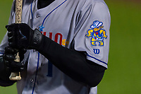 A detailed view of the logo on Amarillo Sod Poodles Buddy Reed's (1) sleeve during a Texas League game against the Springfield Cardinals on April 25, 2019 at Hammons Field in Springfield, Missouri. Springfield defeated Amarillo 8-0. (Zachary Lucy/Four Seam Images)