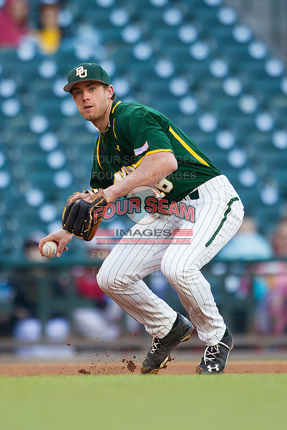 Baylor Bears third baseman Cal Towey #18 prepares to make a throw to first base against the Houston Cougars in the NCAA baseball game on March 2, 2013 at Minute Maid Park in Houston, Texas. Houston defeated Baylor 15-4. (Andrew Woolley/Four Seam Images).