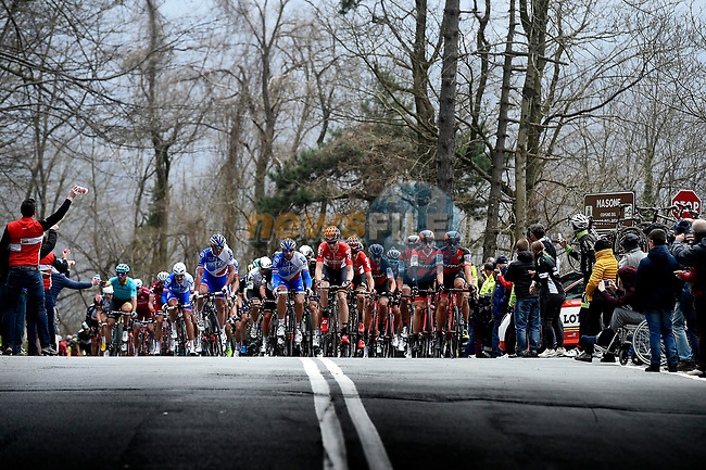 The peloton reach the summit of the Passo del Turchino during the 108th edition of Milan-San Remo 2017 by NamedSport the first Classic Monument of the season running 291km from Milan to San Remo, Italy. 18th March 2017.<br /> Picture: La Presse/Fabio Ferrari | Cyclefile<br /> <br /> <br /> All photos usage must carry mandatory copyright credit (&copy; Cyclefile | La Presse)