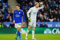 11th January 2020; King Power Stadium, Leicester, Midlands, England; English Premier League Football, Leicester City versus Southampton; Kasper Schmeichel of Leicester City berates Referee Lee Mason after a contentious decision - Strictly Editorial Use Only. No use with unauthorized audio, video, data, fixture lists, club/league logos or 'live' services. Online in-match use limited to 120 images, no video emulation. No use in betting, games or single club/league/player publications