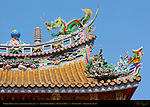 Temple Roof Detail, Upper Roof Right Side, Kanteibyo Temple, Guan di Miao, Chinatown, Yokohama, Japan
