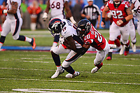 Ohio, Canton - August 1, 2019: Atlanta Falcons defensive back Kendall Sheffield #20 tackles Denver Broncos wide receiver Fred Brown #19 during a pre-season game at the Tom Benson stadium in Canton, Ohio August 1, 2019. This game marks start of the 100th season of the NFL. (Photo by Don Baxter/Media Images International)