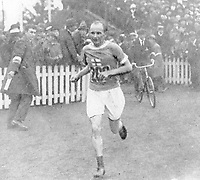 August-September 1920, Olympic Stadium, Antwerp, Belgium;  1920 Summer Olympic Games; Hannes Kolehmainen Finland entering the Stadium at Antwerp on his way to victory during the marathon; A total of 29 nations participated in the Antwerp Games, only one more than in 1912, as Germany, Austria, Hungary, Bulgaria and Ottoman Empire were not invited, having lost World War I.