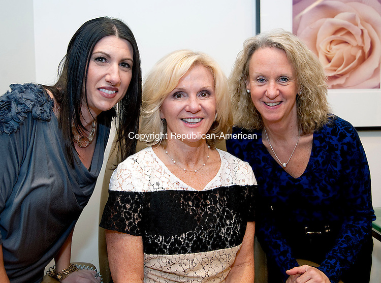 SOUTHBURY, CT 22 MARCH 2013--032223JS06-Marisa Shaker of Middlebury, Kathie Hanratty of Watertown and Laurie White of Southbury at the Palace Theater's  2nd Annual Spa-tacular Spa Party held at Adam Broderick Salon and Spa in Southbury. .Jim Shannon Republican-American.