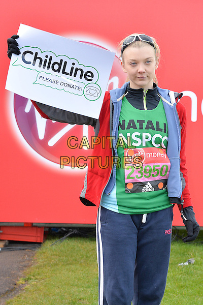 LONDON, ENGLAND - APRIL 24   Natalie Dormer at the start of the 2016 Virgin Money London Marathon on Blackheath in London, England. 24th April 2016.<br /> CAP/JWP<br /> &copy;JWP/Capital Pictures