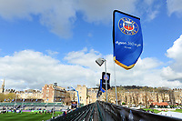A general view of Bath Rugby branded flags. European Rugby Challenge Cup Quarter Final, between Bath Rugby and CA Brive on April 1, 2017 at the Recreation Ground in Bath, England. Photo by: Patrick Khachfe / Onside Images
