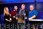 Organiser Francie Conway was presented with a special award at the Christie Hennessy Festival at the Ashe hotel, Tralee on Friday night pictured from left: Mona Conway, Josh Conway, Francie Conway and Kieran Kelly from Dublin City FM.