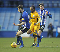 Preston North End's Daniel Johnson battles with  Sheffield Wednesday's Adam Reach <br /> <br /> Photographer Mick Walker/CameraSport<br /> <br /> The EFL Sky Bet Championship - Sheffield Wednesday v Preston North End - Saturday 22nd December 2018 - Hillsborough - Sheffield<br /> <br /> World Copyright &copy; 2018 CameraSport. All rights reserved. 43 Linden Ave. Countesthorpe. Leicester. England. LE8 5PG - Tel: +44 (0) 116 277 4147 - admin@camerasport.com - www.camerasport.com
