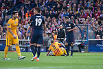 Atletico de Madrid's Saul Ñigez  and Augusto Fernandez and FC Barcelona Andres Iniesta during Champions League 2015/2016 Quarter-Finals 2nd leg match. April 13, 2016. (ALTERPHOTOS/BorjaB.Hojas)