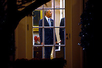 US President Barack Obama talks in the Oval Office prior to his departure aboard Marine One on the South Lawn of the White House in Washington, DC, USA, 14 November 2016. President Obama is traveling overseas to Greece, Germany and Peru.<br /> Credit: Shawn Thew / Pool via CNP /MediaPunch